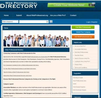 web professional directory home page image